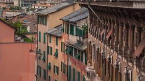 Aerial View of Genoa Skyline, Italy, Lantern Landmark, Liguria, Old Town. Cityscape stock video footage