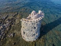 Aerial View of the Genovese Tower, Tour Genoise, Cap Corse Peninsula, Corsica. Coastline. France Stock Images