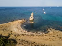 Aerial View of the Genovese Tower, Tour Genoise, Cap Corse Peninsula, Corsica. Coastline. France Royalty Free Stock Photo
