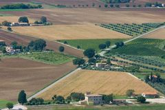 Aerial view of geometrical countryside Stock Images