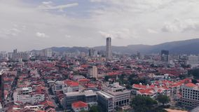 Aerial view of Georgetown Penang, Malaysia stock footage