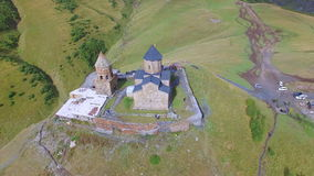 Aerial view of Gergeti Trinity Church stock video