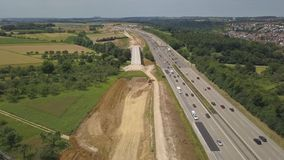 Aerial view of a German Autobahn with construction works stock video footage