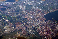 Aerial view of german city. Decent view from the aircraft Royalty Free Stock Photo