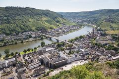 Aerial view of German city Cochem Royalty Free Stock Photo