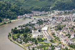 Aerial view of German city Traben Trarbach Stock Photo