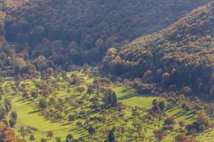 An aerial view of German countryside and forest Royalty Free Stock Images