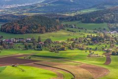 An aerial view of German green countryside Royalty Free Stock Photos