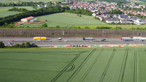 Aerial view of German highway A3 stock footage