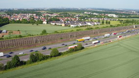 Aerial view of German highway A3 stock video