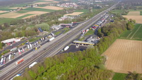 Aerial view of German highway A3 stock video footage
