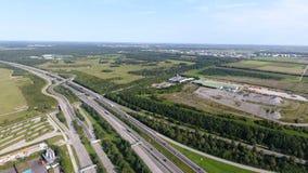 German motorways seen from above. Aerial view of German highways, drone view Royalty Free Stock Photo