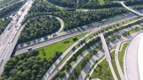 German motorways seen from above. Aerial view of German highways, drone view Stock Image