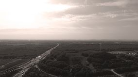 German motorways seen from above. Aerial view of German highways, drone view Stock Photo