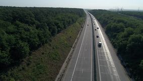 German motorways seen from above, cars driving stock footage