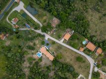 Aerial view of a German settlement in Paraguay. Aerial view of a German settlement in Nueva Colombia-Paraguay Stock Photos