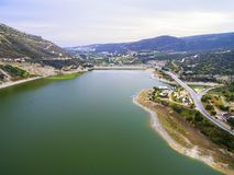 Aerial view of Germasogeia dam, Limassol, Cyprus Stock Images