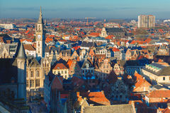 Aerial view of Ghent from Belfry, Belgium Royalty Free Stock Image