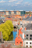 Aerial view of Ghent with canal and medieval buildings, Belgium Royalty Free Stock Photo