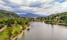 Aerial view of Ghirla lake in province of Varese. stock image