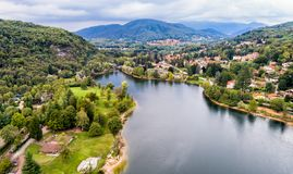 Aerial view of Ghirla lake in province of Varese. stock photography