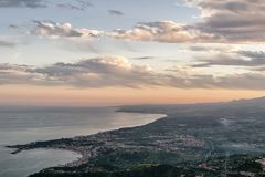 Aerial view of Giardini Naxos at sunset, Messina, Sicily, Italy royalty free stock photos