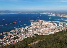 Aerial view of Gibraltar city and bay Royalty Free Stock Photography