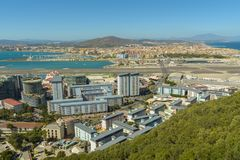 Aerial view of Gibraltar, United Kingdom territory Stock Photography