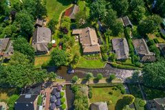 Aerial view of Giethoorn village in the Netherlands. Giethoorn is also called `Venice of The Netherlands` and receives around 800.000 visitors yearly royalty free stock photo