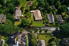 Aerial view of Giethoorn village in the Netherlands. Giethoorn is also called `Venice of The Netherlands` and receives around 800.000 visitors yearly royalty free stock photos