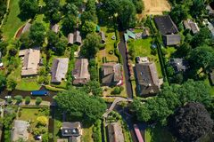 Aerial view of Giethoorn village in the Netherlands. Giethoorn is also called `Venice of The Netherlands` and receives around 800.000 visitors yearly stock photography