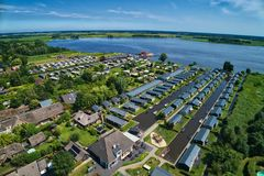 Aerial view of Giethoorn village in the Netherlands. Giethoorn is also called `Venice of The Netherlands` and receives around 800.000 visitors yearly stock images