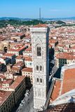Aerial view of Giotto`s Campanile from the Cathedral - Florence. Aerial view of Giotto`s Campanile from the top of the Cathedral - Florence, Tuscany, Italy royalty free stock images