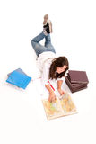 Aerial view of a girl with homework Stock Photos