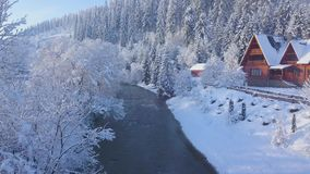 Flight over girl walking along a bridge across a mountain river near a mountain covered with coniferous forest in winter. Aerial view on a girl walking along a stock footage