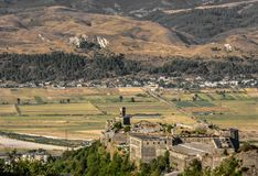 Aerial view of Gjirokaster Citadel, surrounded by rural landscape, Albania royalty free stock photos
