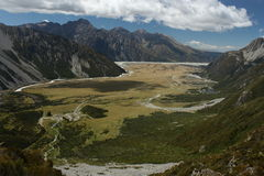 Aerial view of glacial valley in Mount Cook National Park Royalty Free Stock Images