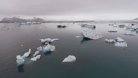 AERIAL VIEW  GLACIER ICEBERGS stock footage