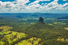Aerial view of Glasshouse Mountains on the Sunshine Coast, Austr. Aerial view of Glasshouse Mountains on the Sunshine Coast, Queendsland, Australia Royalty Free Stock Photo