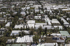 Aerial view of glasshouses in xochimilco mexico Stock Image