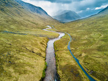 Aerial view of Glen Etive Stock Photography