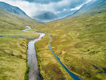 Aerial view of Glen Etive Stock Photo