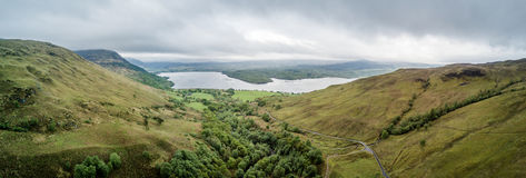 Aerial view of Glen Etive seen from the highland hills between Ardchattan and Barcaldine by Lochan Uaine and Na Maoilean Stock Image