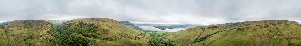 Aerial view of Glen Etive seen from the highland hills between Ardchattan and Barcaldine by Lochan Uaine and Na Maoilean Stock Photo