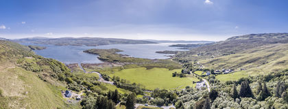Aerial view of Glenmore bay, Ardnamurchan. Scotland Royalty Free Stock Photo