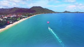 Aerial view of glider in Thailand stock footage