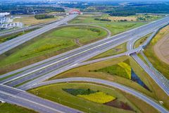 Aerial view of Gliwice Sosnica motorway junction. There are international traffic in four directions royalty free stock photo