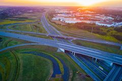 Aerial view of Gliwice Sosnica motorway junction. There are international traffic in four directions stock photography