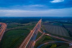 Aerial view of Gliwice Sosnica motorway junction. There are international traffic in four directions stock photo