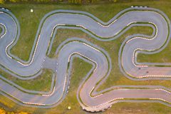 Aerial view of the go-kart track. New asphalt track with turns for racing royalty free stock image